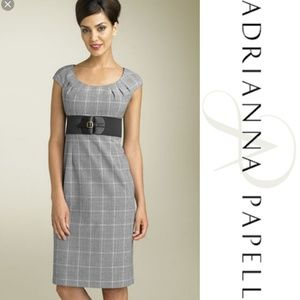 Adrianna Papell Grey Plaid Belted Empire Dress